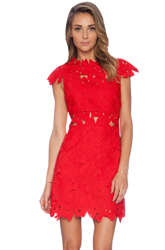 Red Floral Crochet Dress - StyleCracker