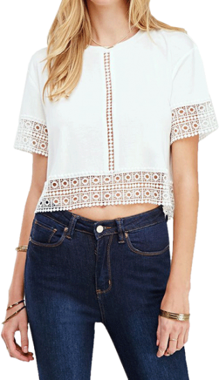 White Hollow Crop Top - StyleCracker
