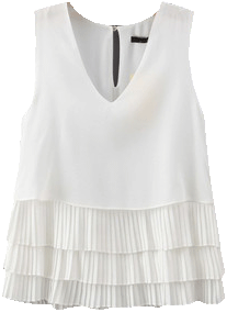 White Cascading Pleated Top - StyleCracker