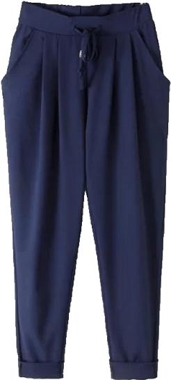 Navy Blue Drawstring Pants - StyleCracker