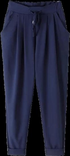 Navy Blue Drawstring Pants - StyleCracker