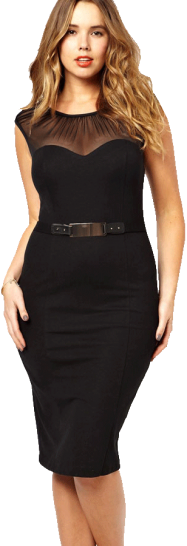 Mgc Curve Belted Dress With Ruched Mesh - StyleCracker