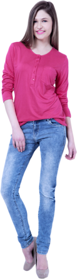 Basics Classic Henley Tee - Pink - StyleCracker