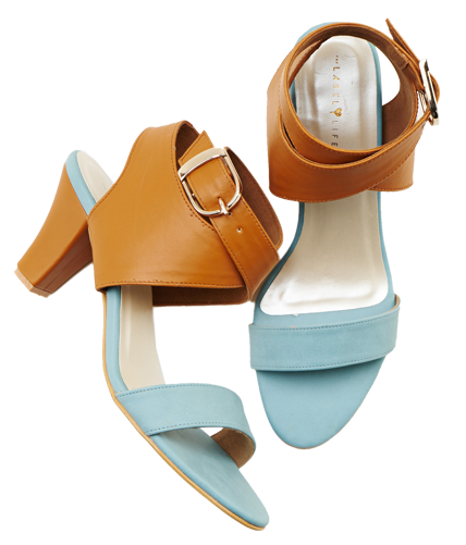 Powder Blue Tan Heels - StyleCracker