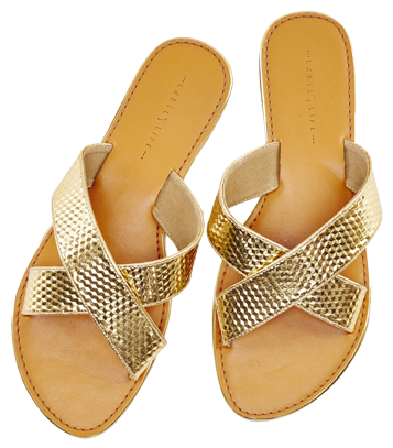 GOLD CROSSED SLIDER FLATS - StyleCracker