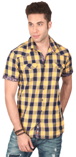 Casual Textured Checked Slim Fit Shirt With Contrast - StyleCracker