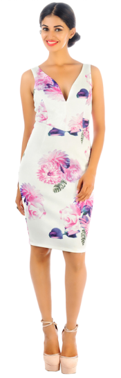 Printed Stretch Cady Floral Dress - StyleCracker
