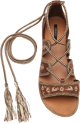 Embroidered Lace-Up Sandals - StyleCracker