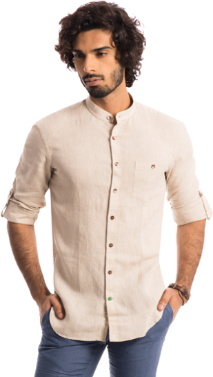 The Shepherd: Wheat Beige 100% Linen Shirt - StyleCracker