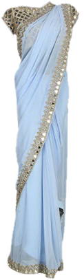 Pure Georgette Mirror Cutwork Saree - StyleCracker