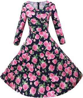 CD 204 Vintage Style Women O-Neck Long Sleeve Floral High Waist Stretch Slim Midi Swing Dress SV028171 - StyleCracker