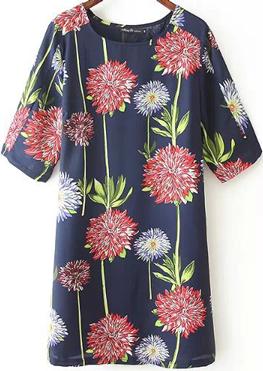 Womens Elegant O-Neck Floral Above Knee Short Sleeve A-Line Dress 44DJ11M00 - StyleCracker