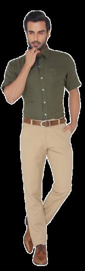JadeBlue Olive Green Printed Regular Fit Formal Shirt - StyleCracker