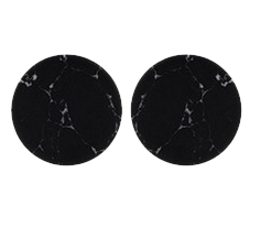 Black Marbled Round Earrings - StyleCracker