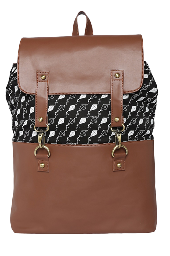 Black Kite Printed Laptop Backpack - StyleCracker