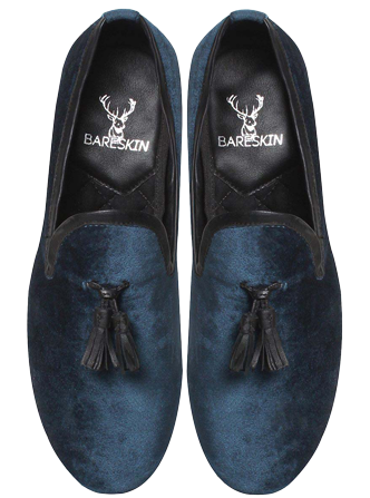 Bareskin Blue Velvet / Leather Tassel Slip-On Shoes - StyleCracker