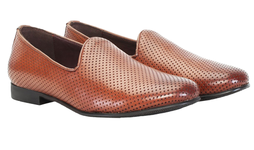 Mens Leather Slip On with Perforation. Tan SS15 - StyleCracker