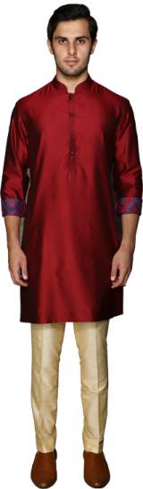 Maroon Spun Silk pathan with a printed silk facing - StyleCracker