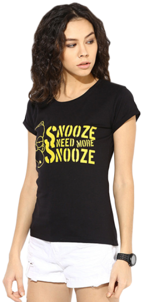 Simpsons - Need More Snooze Black Tee For Women - StyleCracker