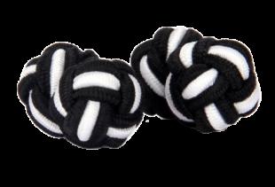 The Bro Code Silk Knot Cufflinks In White And Black - StyleCracker