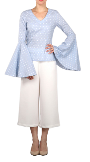 The Polka Dot Top With Exaggerated Sleeves - StyleCracker