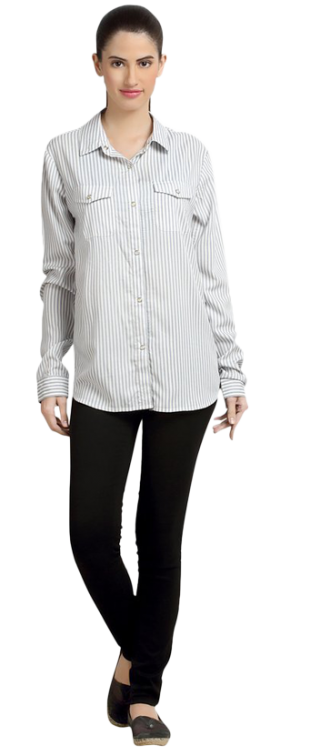 Loco En Cabeza Stripe Rayon Womens Button Down Shirt CZWT0053 - StyleCracker