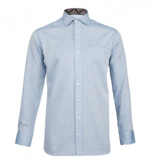 Blue chambray kutchi ajrakh shirt the stiff collar buy for Stiff collar polo shirt